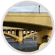 Round Beach Towel featuring the photograph Three Bridges by Phyllis Denton