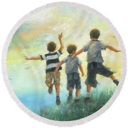 Three Brothers Leaping Round Beach Towel