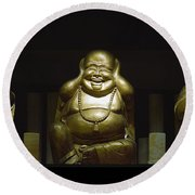 Three Buddhas Round Beach Towel