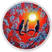 Three Cats In A Bright Red Sunset Round Beach Towel