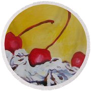 Three Cherries Round Beach Towel