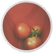 Three Cherry Tomatoes Round Beach Towel by Scott Norris