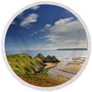 Three Cliffs Bay 4 Round Beach Towel