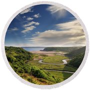 Three Cliffs Bay 6 Round Beach Towel