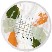 Round Beach Towel featuring the painting Three Color Palette Orange 3 by Michal Mitak Mahgerefteh