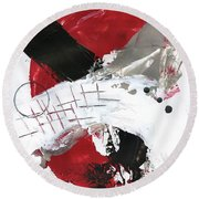 Three Color Palette Red 2 Round Beach Towel by Michal Mitak Mahgerefteh
