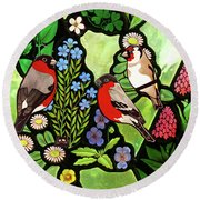 Round Beach Towel featuring the photograph Three Company by Munir Alawi