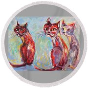 Round Beach Towel featuring the painting Three Cool Cats by Mary Schiros