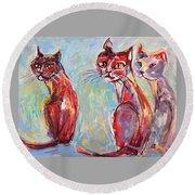 Three Cool Cats Round Beach Towel