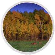Three Deer And A Moon Round Beach Towel