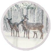 Three Deer Come Calling Round Beach Towel