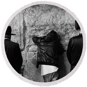 Round Beach Towel featuring the photograph Three Different Selichot Prayers At The Kotel by Yoel Koskas
