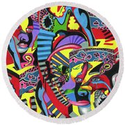 Three Disguises Of An Abstract Thought Round Beach Towel