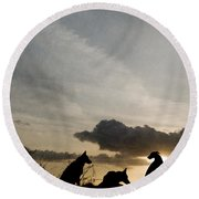 Three Dogs At Sunset Round Beach Towel