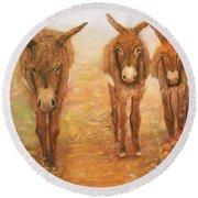 Three Donkeys Round Beach Towel by Loretta Luglio