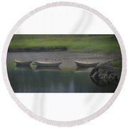 Three Dories Round Beach Towel