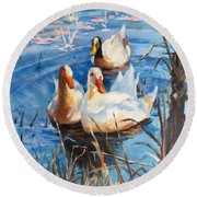 Three Ducks Round Beach Towel