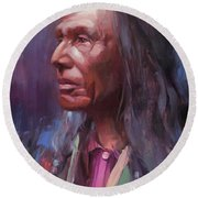 Round Beach Towel featuring the painting Three Eagles by Steve Henderson