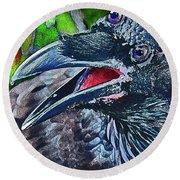 Three-eyed Raven. Round Beach Towel