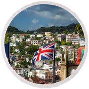 Three Flags Over Grenada Round Beach Towel