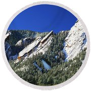 Three Flatirons Round Beach Towel by Marilyn Hunt