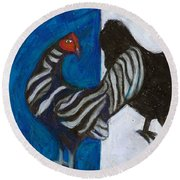 Round Beach Towel featuring the painting Three French Hens by Denise Weaver Ross
