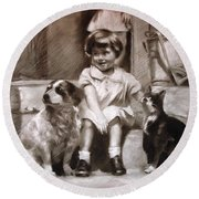 Three Friends On The Doorstep Round Beach Towel