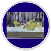 Three Goldfinches In Winter Round Beach Towel by Janette Boyd