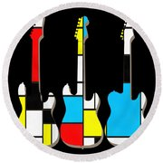 Three Guitars Modern Tee Round Beach Towel