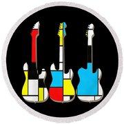Three Guitars Modern Tee Round Beach Towel by Edward Fielding