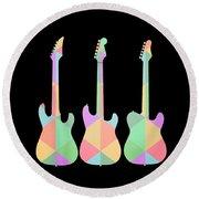 Three Guitars Triangles Tee Round Beach Towel by Edward Fielding