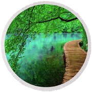 Tree Hanging Over Turquoise Lakes, Plitvice Lakes National Park, Croatia Round Beach Towel