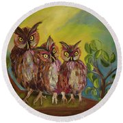 Three Hoots -hooters - Owls  Round Beach Towel by Jan Dappen