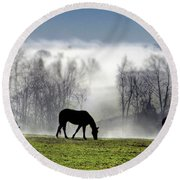 Three Horse Morning Round Beach Towel