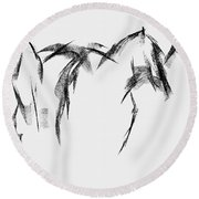 Three Horse Sketch Round Beach Towel by Frances Marino