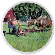 Three Horsepower Round Beach Towel
