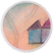 Three Houses Round Beach Towel by Valerie Reeves