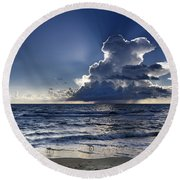 Round Beach Towel featuring the photograph Three Ibises Before The Storm by Steven Sparks