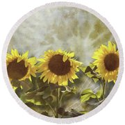 Three In The Sun Round Beach Towel