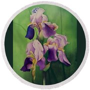 Three Iris Round Beach Towel
