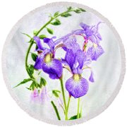Three Japanese Irises With Foxgloves Round Beach Towel by Louise Kumpf