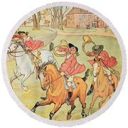 Three Jovial Huntsmen Round Beach Towel by Randolph Caldecott