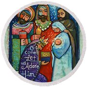 Three Kings O Come Let Us Adore Him Round Beach Towel