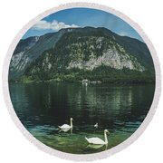 Three Lake Hallstatt Swans Round Beach Towel
