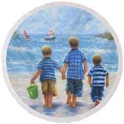 Three Little Beach Boys Walking Round Beach Towel