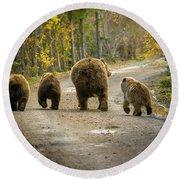 Three Little Bears And Mama Round Beach Towel