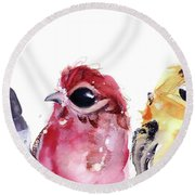 Round Beach Towel featuring the painting Three Little Birds by Dawn Derman