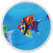 Round Beach Towel featuring the painting Three Little Fishy's by Jamie Frier