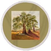 Three Live Oaks With Spanish Moss In A Florida Cow Pasture Round Beach Towel
