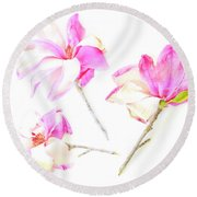 Three Magnolia Flowers Round Beach Towel